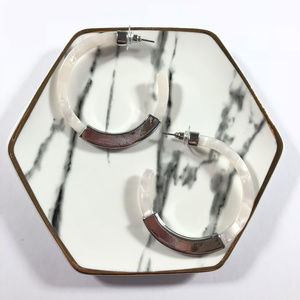 Cora Acrylic White Tortoise Silver Hoop Earrings